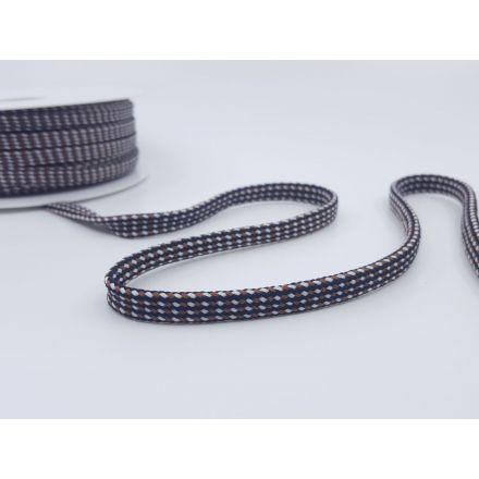 8mm Baumwollkordel flach-geflochten, braun/weiss/schwarz