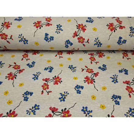 Alpenfleece Blumen hellgrau/blau/gelb/rot