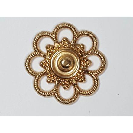 Annähdruckknöpfe Blumen Design 26mm gold