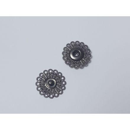Annähdruckknöpfe Blumen Design 26mm silber-schwarz