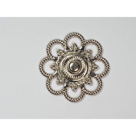 Annähdruckknöpfe Blumen Design 26mm silber
