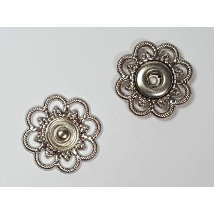 Annähdruckknöpfe Blumen Design silber