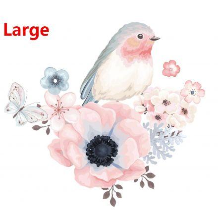 Bügelbild Blume mit Vogel