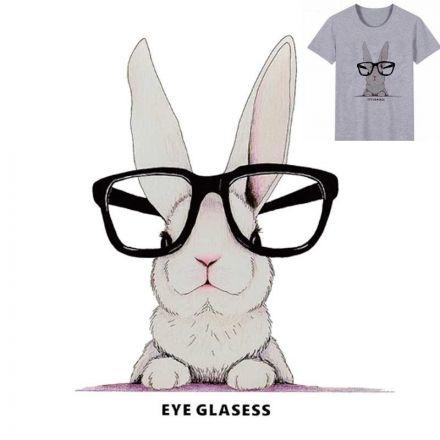 Bügelbild Hase mit Brille