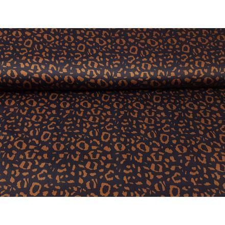 Baumwoll Satin Leopard navy/ocker