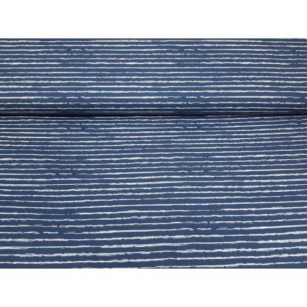Streifen stahlblau/weiss