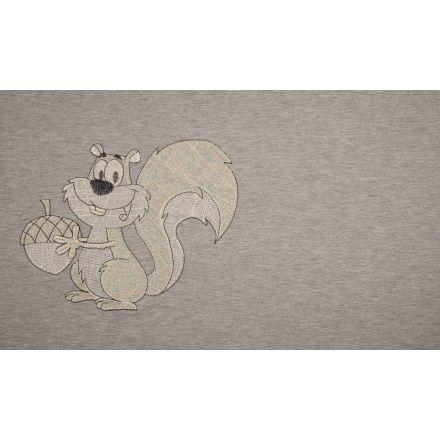 Baumwolljersey Panel, Eichhörnchen Stickerei grau meliert