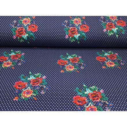 Blumen dunkelblau-rot-grün