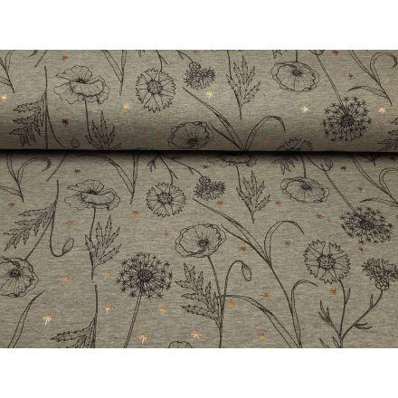 Blumen grau melange/schwarz/rosegold