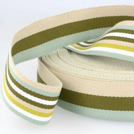 doppelseitiges Gurtband 40mm grün/beige
