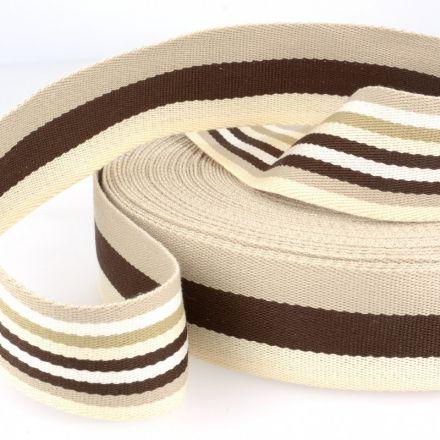 doppelseitiges Gurtband 40mm beige/braun