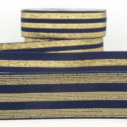 Elastisches Metall Gummiband Streifen gold/blau