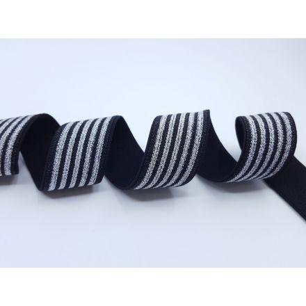 Elastisches Metall Gummiband Streifen schwarz/silber