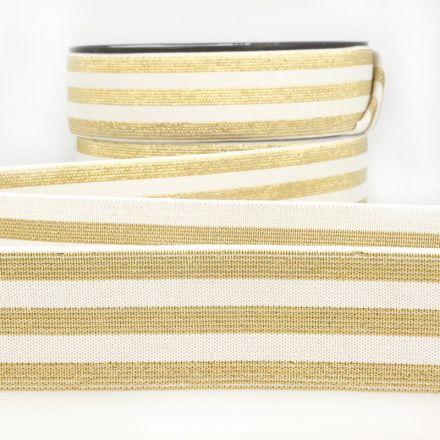 Elastisches Metall Gummiband Streifen weiss/gold