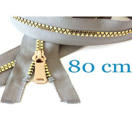 Gold metallisierter Jacken Reissverschluss teilbar 80 cm, verschiedene Farben