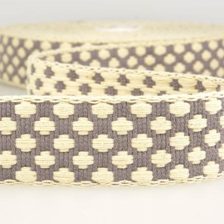 doppelseitiges Gurtband 40mm grau/ecru