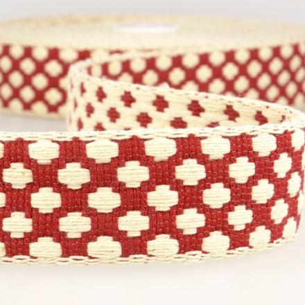 doppelseitiges Gurtband 40mm rot/ecru