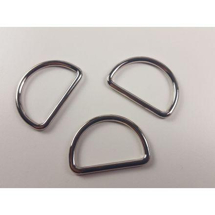 Halbrund-Ringe 30 mm silber glänzend für 30mm Gurtband
