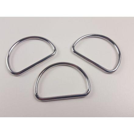 Halbrund-Ringe 40 mm silber glänzend für 40mm Gurtband