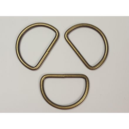 Halbrund-Ringe altmessing für 40mm Gurtband