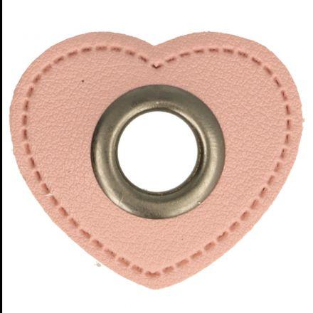 Herz Kunstleder Ösenpatch 8mm rosa/altnickel