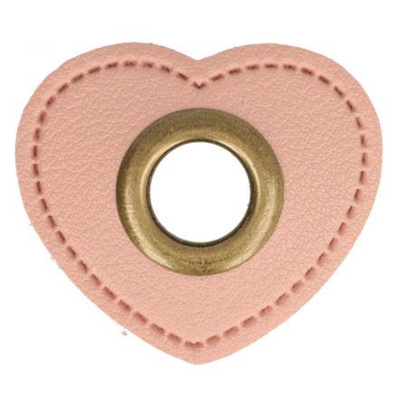 Herz Kunstleder Ösenpatch 8mm rosa/bronze