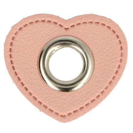 Herz Kunstleder Ösenpatch 8mm rosa/silber