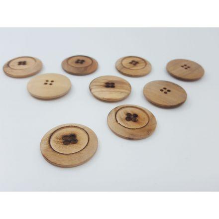 Holzknöpfe mit Rand beige 30mm