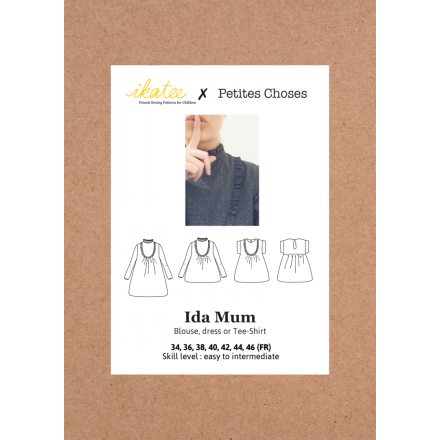 Ida Mum Bluse für Damen, Ikatee Papierschnittmuster