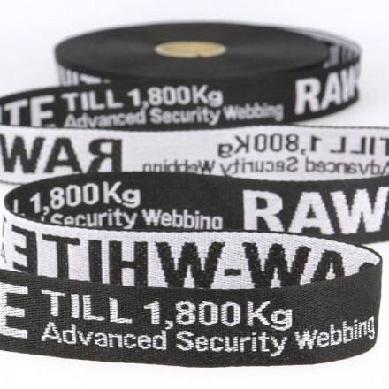 Jacquard Gurtband 35mm schwarz/weiss