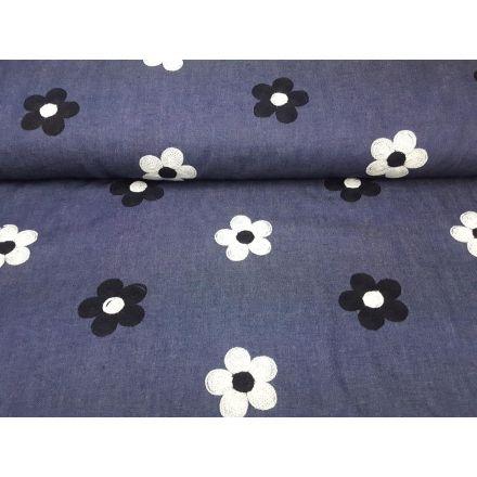Jeans mit Bluemen Stickerei, dunkles denim weiss/schwarz