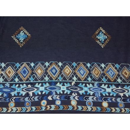 Jeans mit Bordüren Stickerei, dunkles denim weiss/blau/türkis