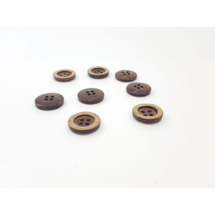 Kokosnuss-Knöpfe mit Rand dunkelbraun/beige 25mm