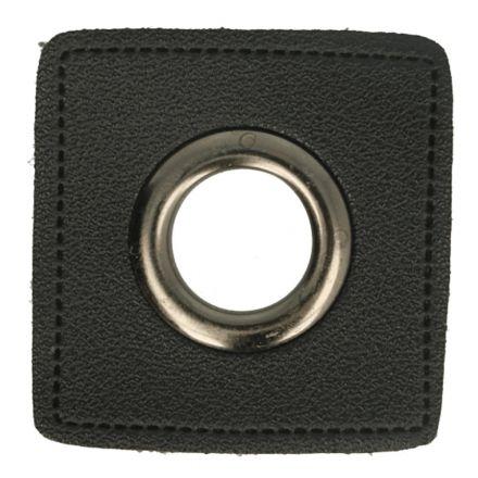 Kunstleder Ösenpatch 8mm schwarz/altnickel
