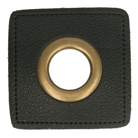 Kunstleder Ösenpatch 8mm schwarz/bronze