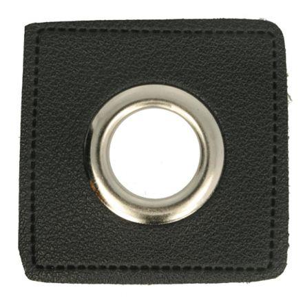 Kunstleder Ösenpatch 8mm schwarz/silber