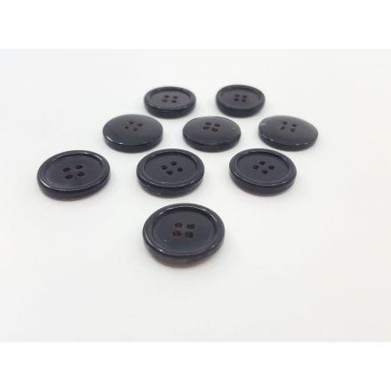 Kunststoffknöpfe mit Rand schwarz 25mm