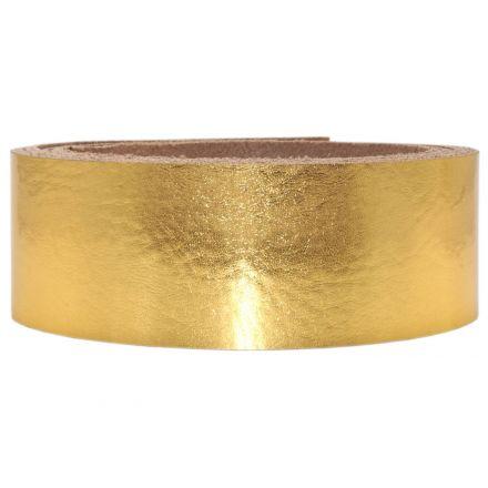 Lederriemen Metallic 2,5 cm breit gold