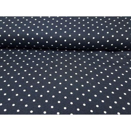 Leinen/Viskose Dots dunkelblau/weiss