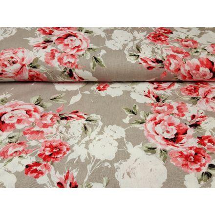 Leinen/Viskose Flowers beige/hibiskus