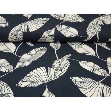 Leinen/Viskose Leaves dunklelblau/ecru