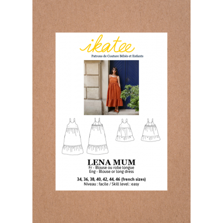 Lena Mum Bluse-Kleid für Damen, Ikatee Papierschnittmuster