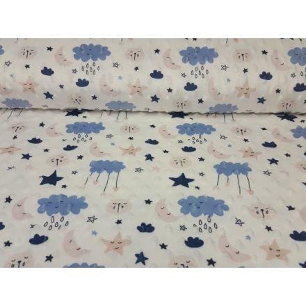 Minky Fleece Cloudy weiss/stahlblau/rosa