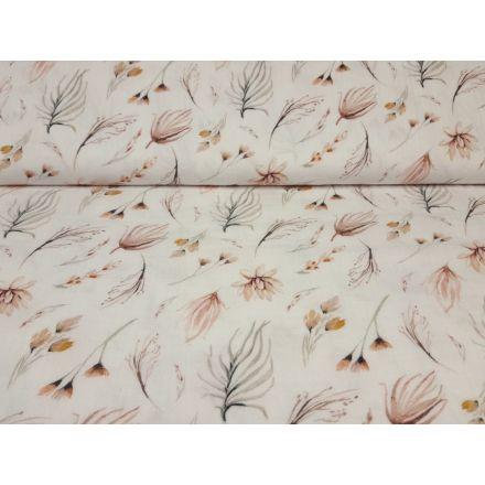 Muslin-Double Gaze Autumn Flowers offwhite/khaki/beige