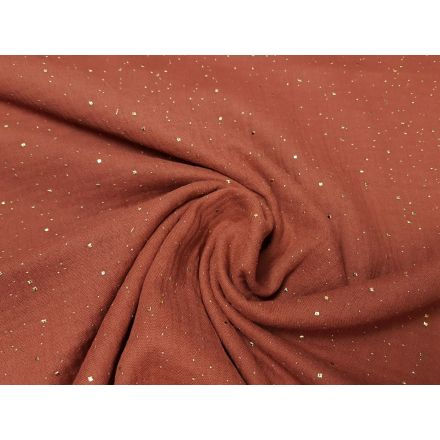 Muslin-Double Gaze dusty terra mit gold Punkten