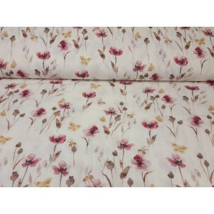 Muslin-Double Gaze Flowers offwhite/himbeer/beige
