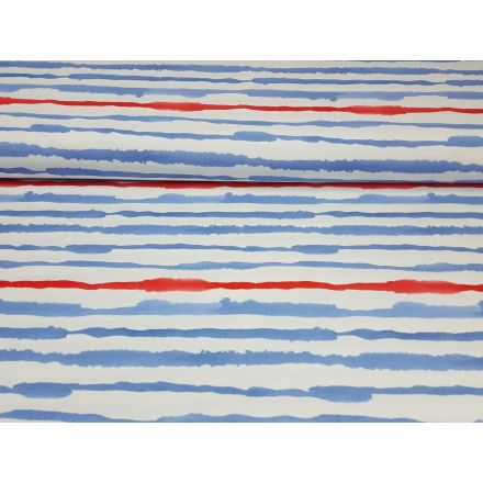 Nautical Stripe weiss/stahlblau/rot
