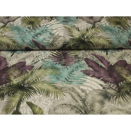 Palm Garden hellgrau/violett/türkis