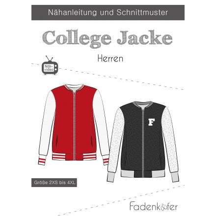 Papierschnittmuster College Jacke Herren von Fadenkäfer