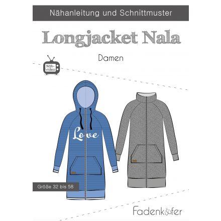 Papierschnittmuster Longjacket Nala Damen von Fadenkäfer  Mehrgrössenschnittmuster Damen: Grösse 32-58  Mit dem Longjacket Nala bist du bestens für die Übergangszeit gerüstet. Die hübsche Jacke wird aus Sweatstoffen mit Beleg genäht und ist dadurch kusche